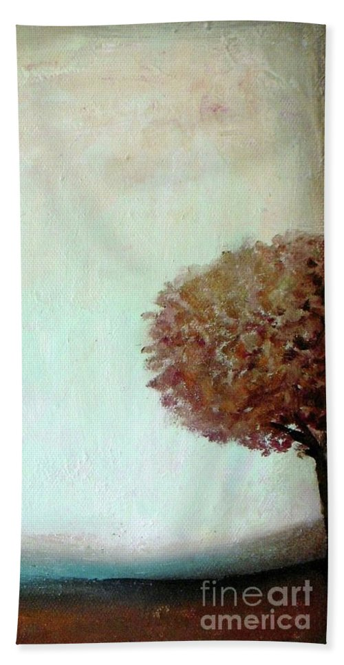 Landscape Beach Towel featuring the painting Misty Morning by Vesna Antic