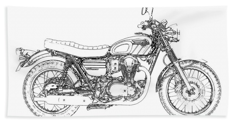 Motorcycle Art Beach Towel featuring the drawing Motorcycle Art, Black And White by Drawspots Illustrations