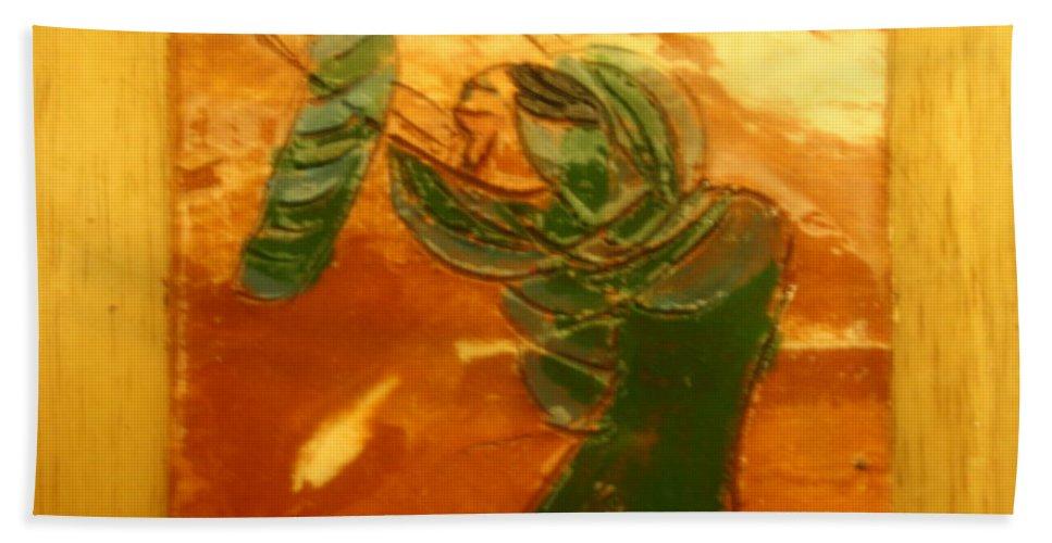 Jesus Beach Towel featuring the ceramic art Mums Love - Tile by Gloria Ssali