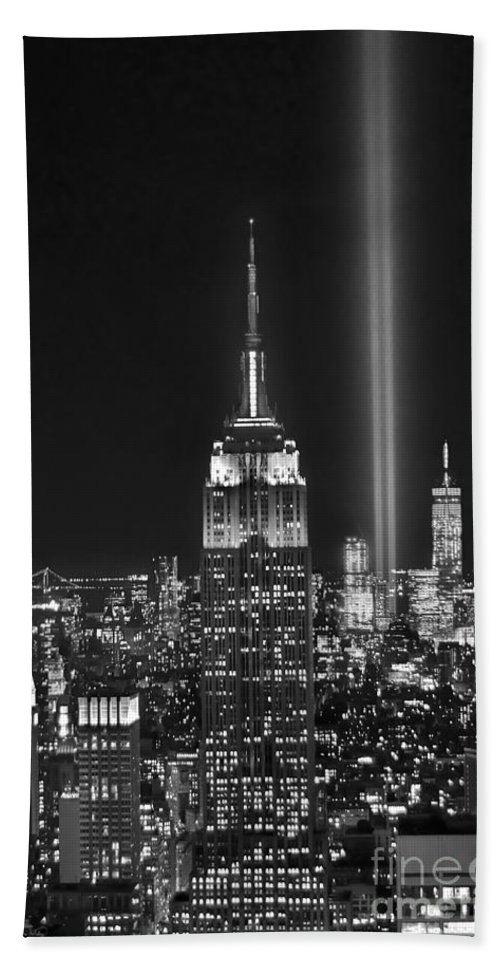 New York City Skyline At Night Beach Towel featuring the photograph New York City Tribute In Lights Empire State Building Manhattan At Night Nyc by Jon Holiday
