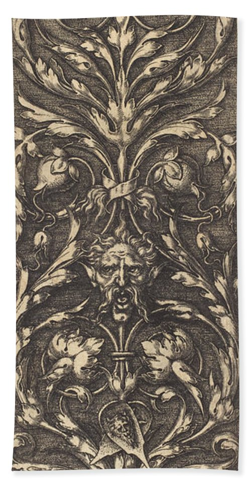 Beach Towel featuring the drawing Ornament by Heinrich Aldegrever