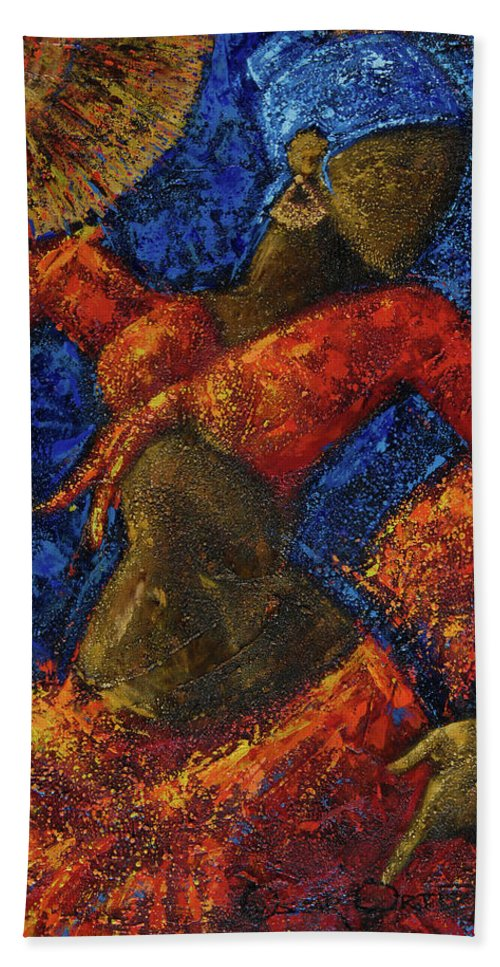 Dancer Beach Towel featuring the painting Passion by Oscar Ortiz