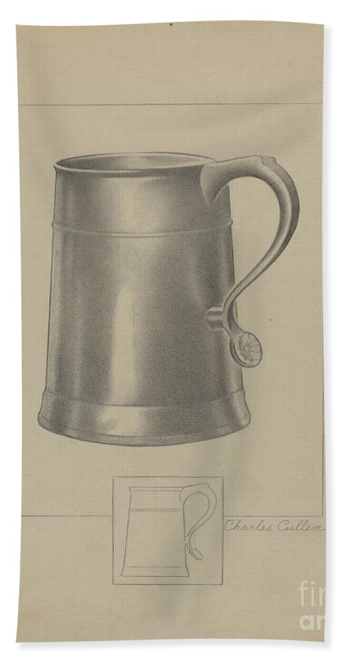 Beach Towel featuring the drawing Pewter Mug by Charles Cullen