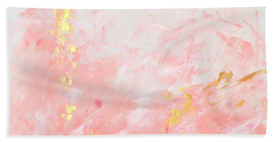 Pink Abstract Canvas Art: Pink Gold Abstract Painting Beach Towel For Sale By Voros Edit
