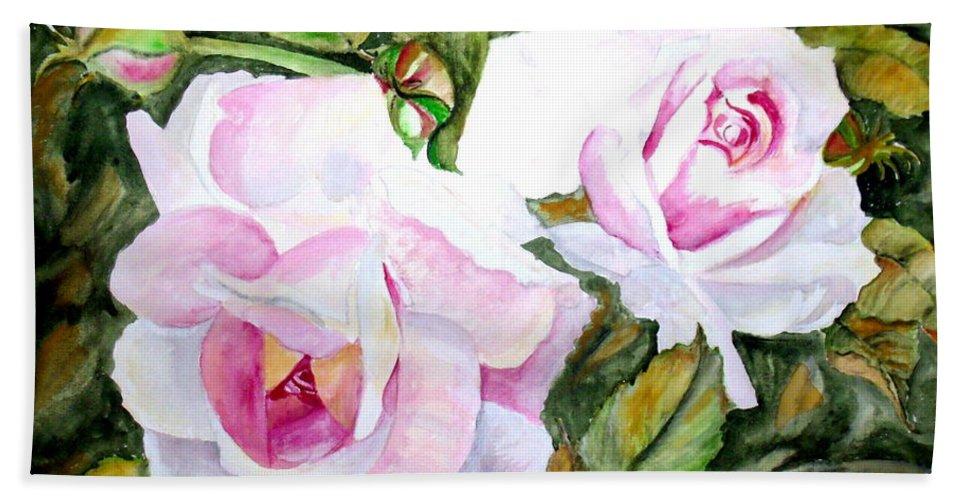 Flower Beach Towel featuring the painting Pink Roses by Carol Grimes