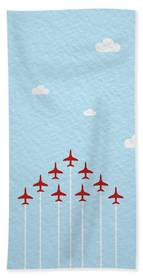 Reds Beach Towel featuring the photograph Raf Red Arrows In Formation by Samuel Whitton