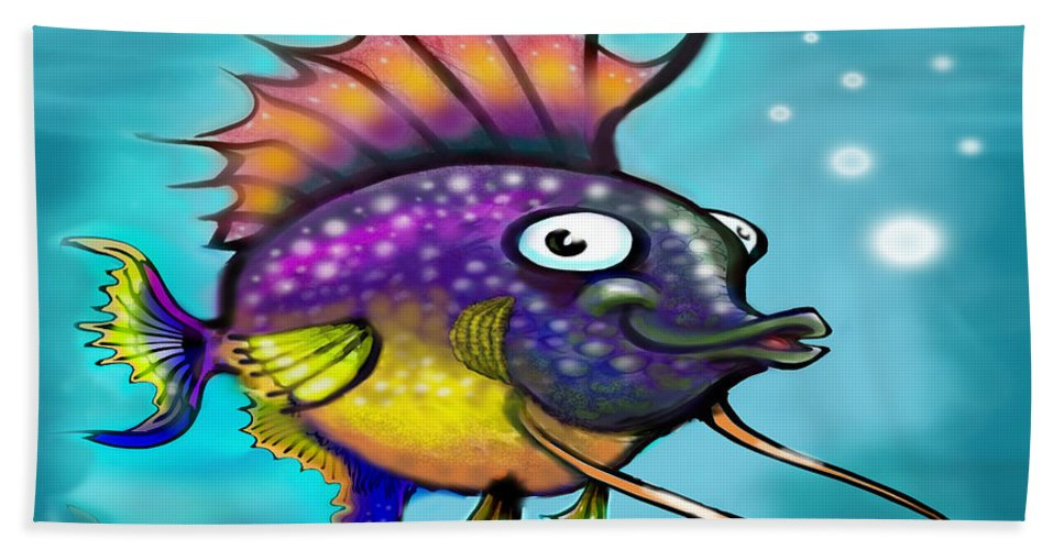 Rainbow Beach Towel featuring the painting Rainbow Fish by Kevin Middleton