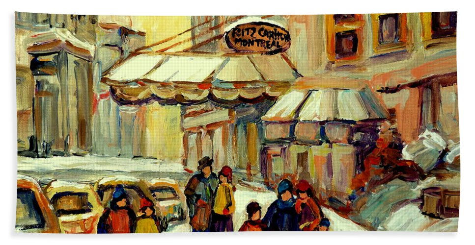 Ritz Carlton Montreal Beach Towel featuring the painting Ritz Carlton Montreal Streetscene by Carole Spandau