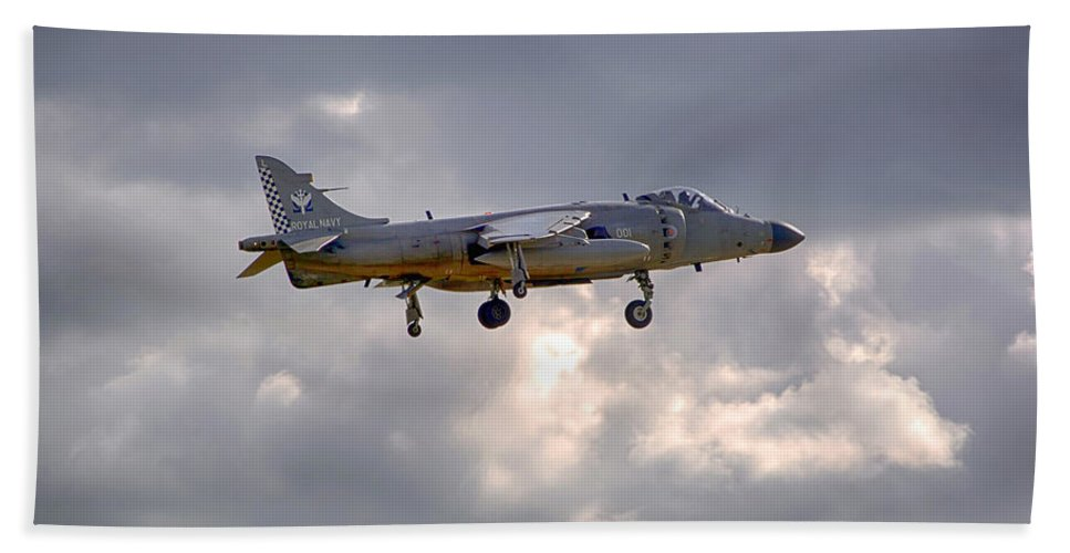 Royal Navy Beach Towel featuring the photograph Royal Navy Sea Harrier by Chris Smith