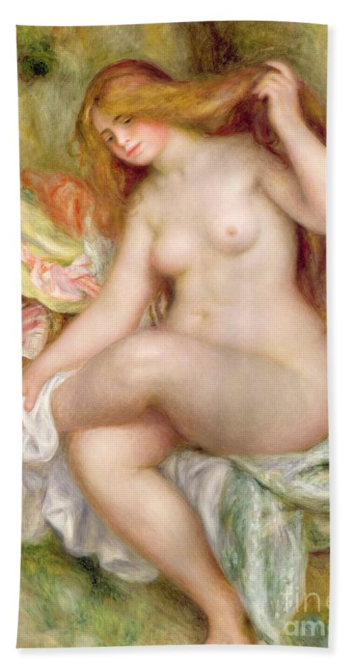 Seated Beach Towel featuring the painting Seated Bather 2 by Pierre Auguste Renoir