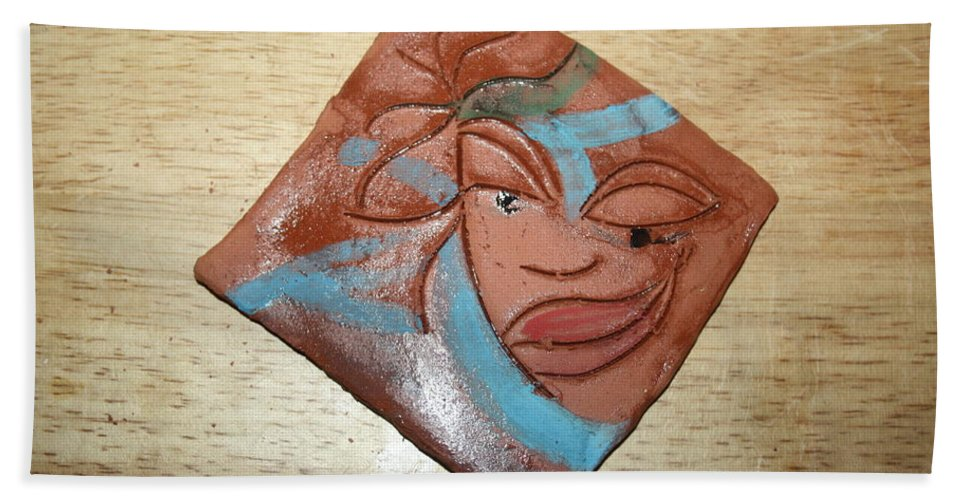 Jesus Beach Towel featuring the ceramic art Serena - Tile by Gloria Ssali