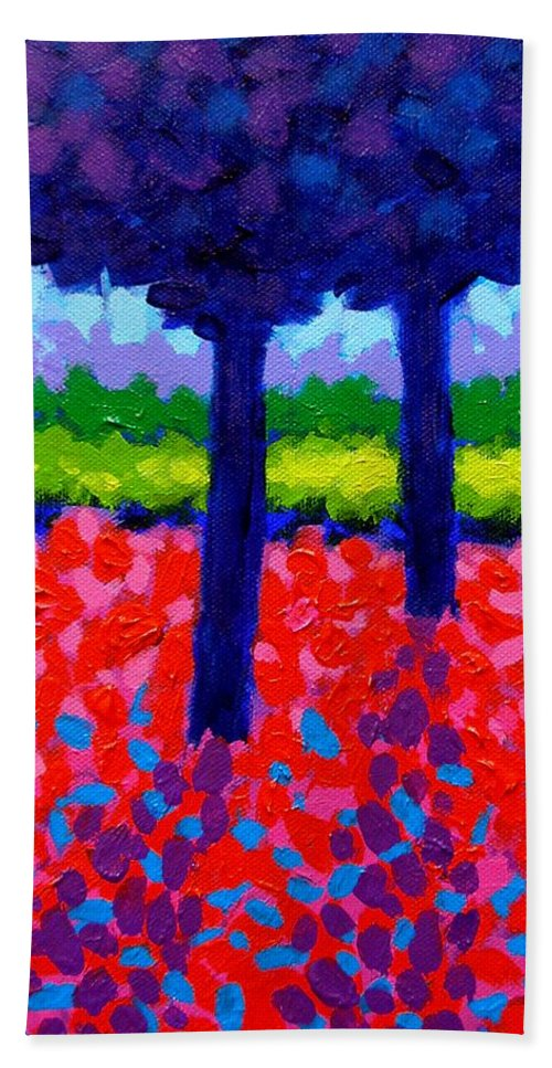 Trees Beach Towel featuring the painting Shadow Trees by John Nolan