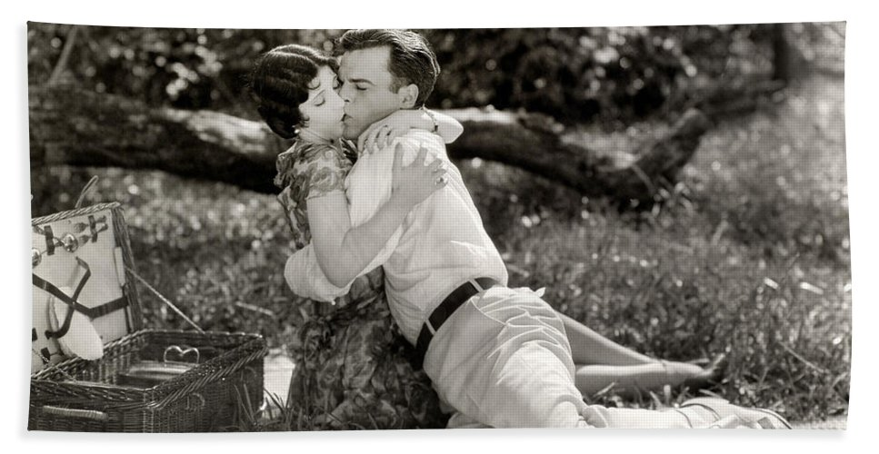-picnic- Beach Towel featuring the photograph Silent Film Still: Picnic by Granger