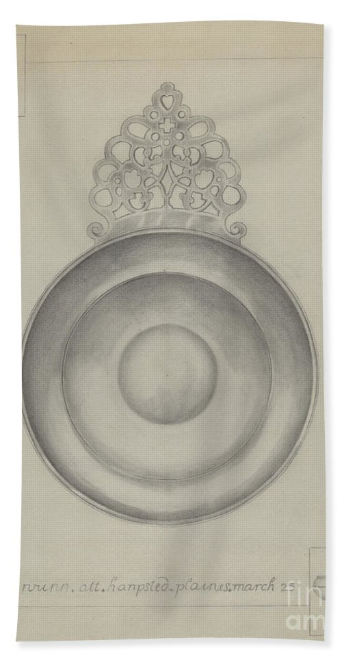 Beach Towel featuring the drawing Silver Porringer by Hester Duany