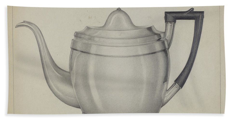 Beach Towel featuring the drawing Silver Teapot by Giacinto Capelli