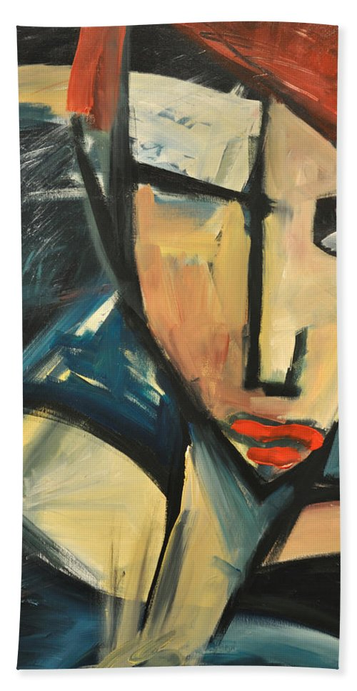 Woman Beach Towel featuring the painting Simone by Tim Nyberg