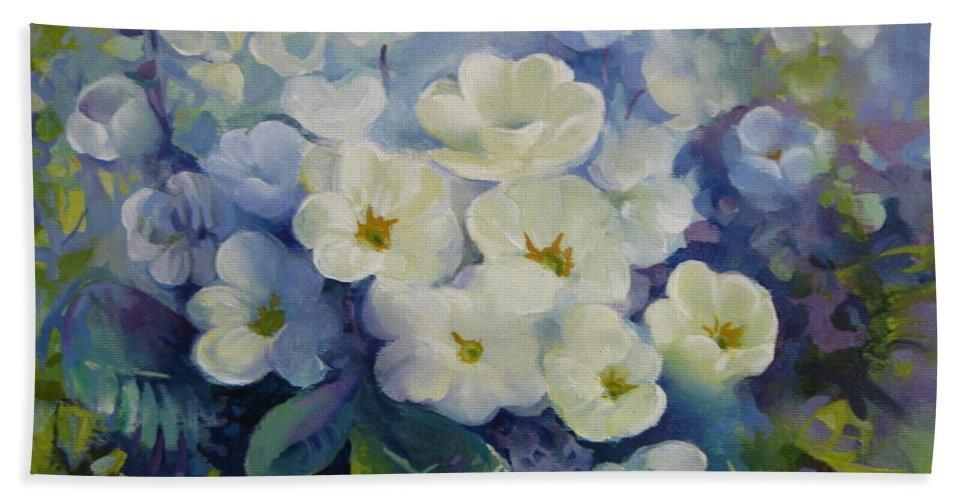 Primrose Beach Towel featuring the painting Spring by Elena Oleniuc