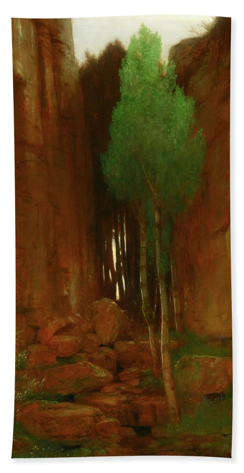 Painting Beach Towel featuring the painting Spring In A Narrow Gorge by Mountain Dreams