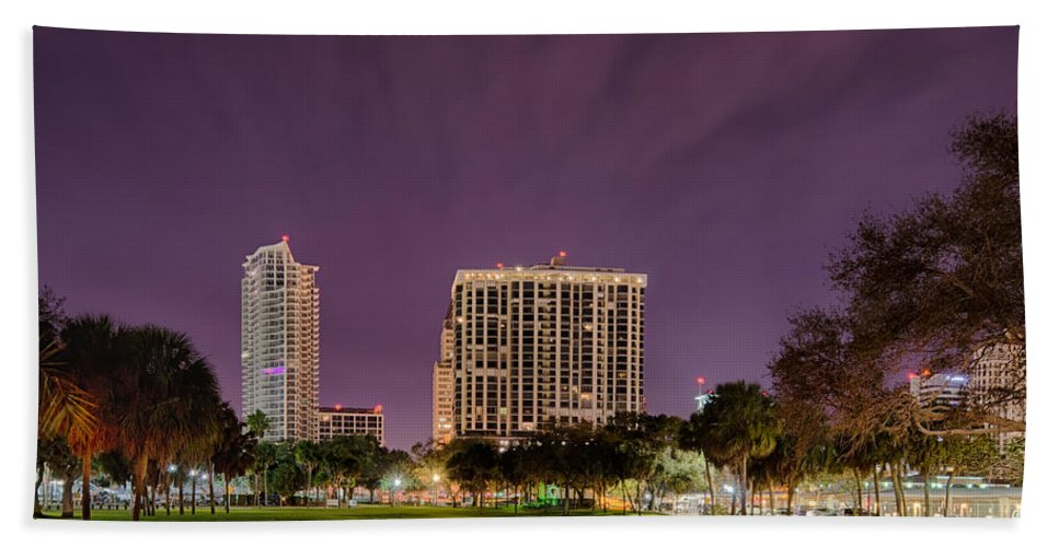 Florida Beach Towel featuring the photograph St Petersburg Florida City Skyline And Waterfront At Night by Alex Grichenko