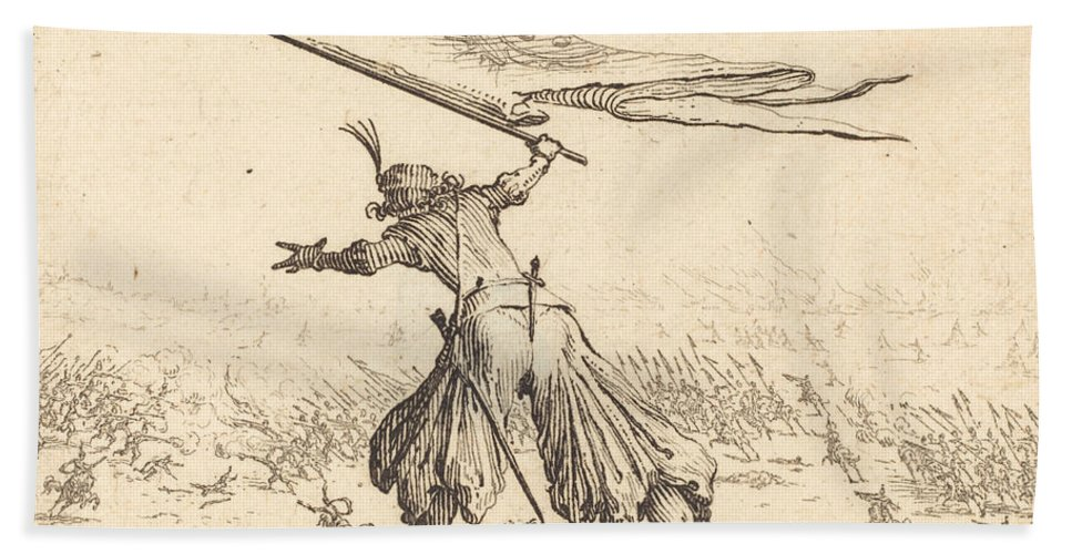 Beach Towel featuring the drawing Standard Bearer by Jacques Callot