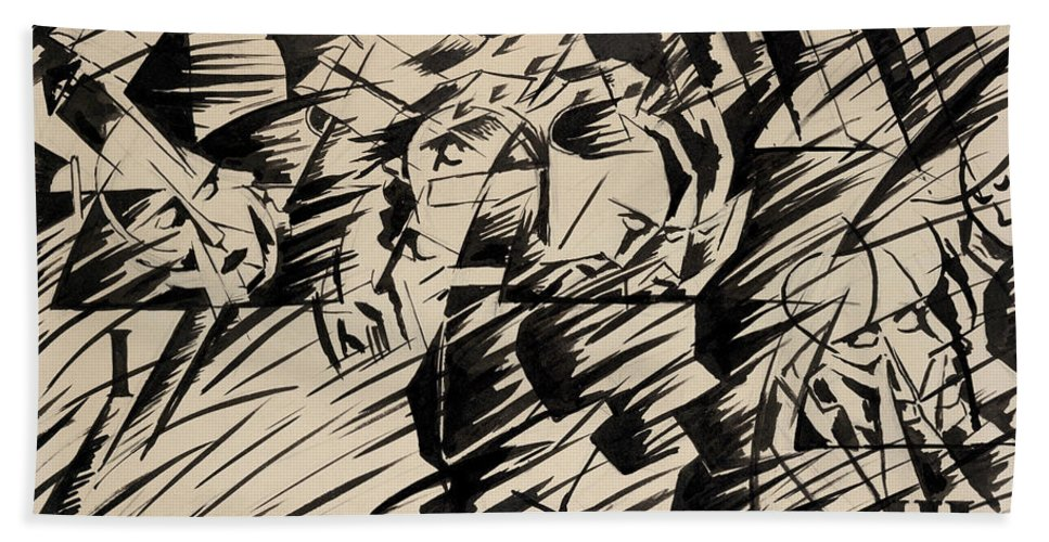 Boccioni Beach Towel featuring the painting States Of Mind Those Who Go by Umberto Boccioni