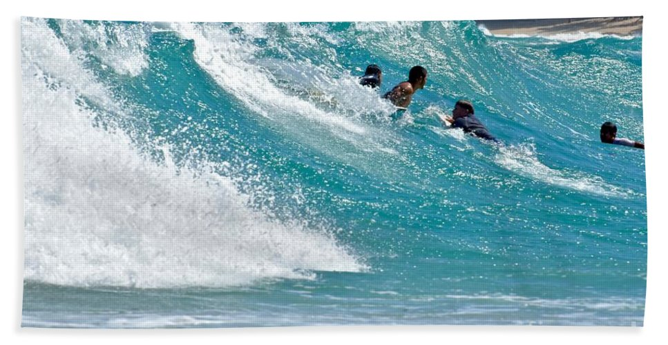 Surfers Beach Towel featuring the photograph Surfs Up by Jeramey Lende
