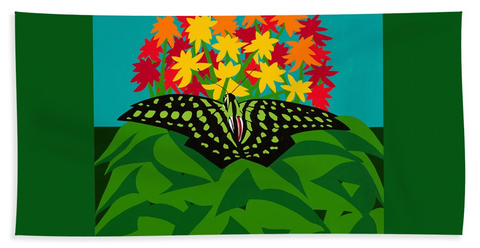 Butterflies Beach Towel featuring the painting Tailed Jay by Synthia SAINT JAMES