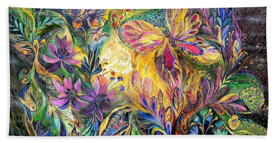 Original Beach Towel featuring the painting The Life Of Butterfly by Elena Kotliarker