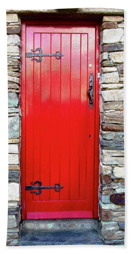 Door Beach Towel featuring the photograph The Red Door by Stephanie Moore