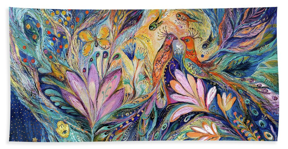 Original Beach Towel featuring the painting The Sea Song by Elena Kotliarker