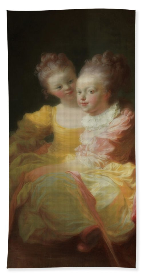 Painting Beach Towel featuring the painting The Two Sisters by Jean Honore Fragonard