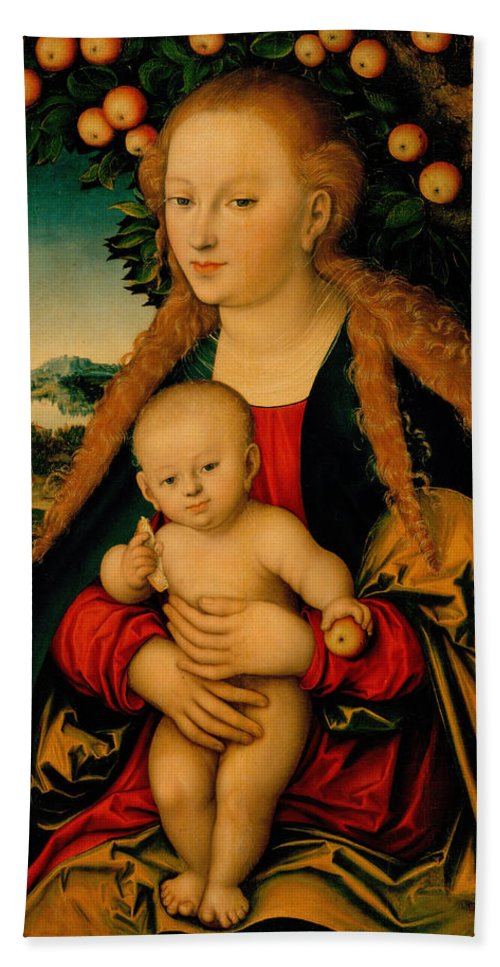 Lucas Cranach Beach Towel featuring the painting The Virgin And Child Under An Apple Tree by Lucas Cranach the Elder