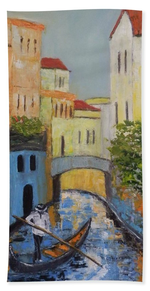 Venice Beach Towel featuring the painting Venice by Maria Karalyos
