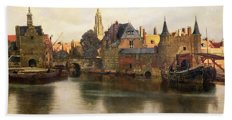 View Beach Towel featuring the painting View Of Delft by Jan Vermeer