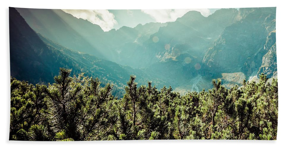 Tatra Beach Towel featuring the photograph View Of Tatra Mountains From Hiking Trail. Poland. Europe. by Mariusz Prusaczyk