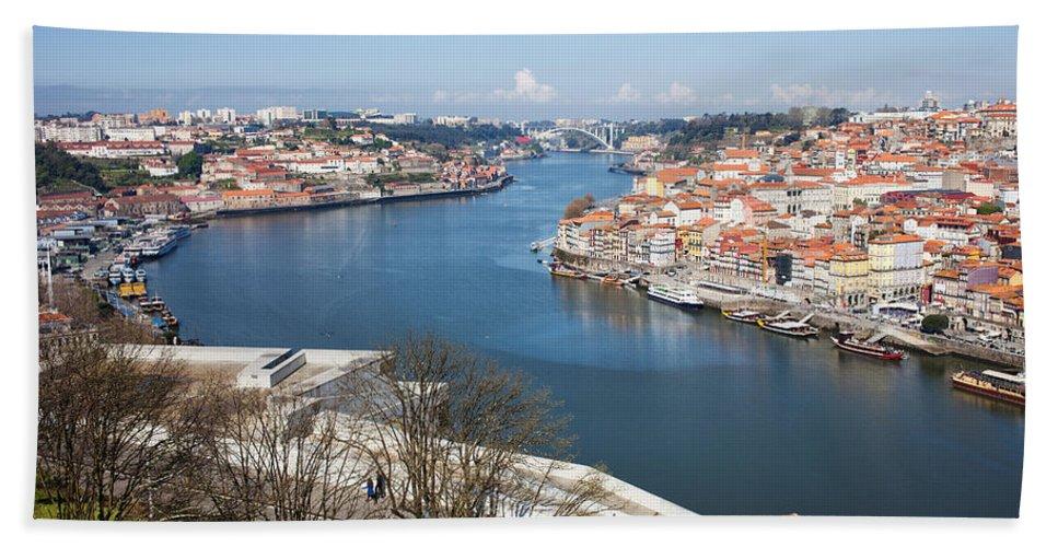 Oporto Beach Towel featuring the photograph Vila Nova De Gaia And Porto In Portugal by Artur Bogacki