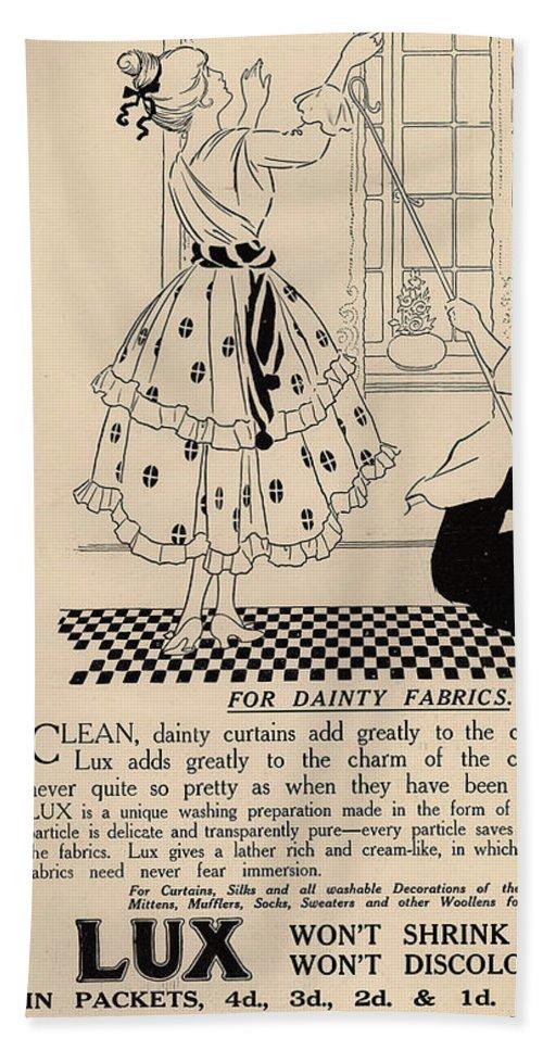 Ephemera Beach Towel featuring the digital art Clean Dainty Curtains Vintage Soap Ad by Anne Kitzman