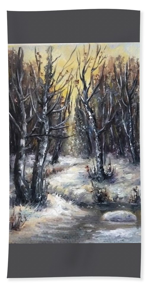 Winter Beach Towel featuring the painting Winter aceo original painting by Natalja Picugina