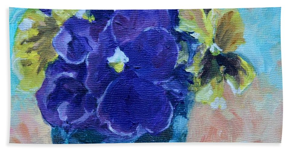 Miniature Beach Towel featuring the painting Winter Pansies by Jan Bennicoff