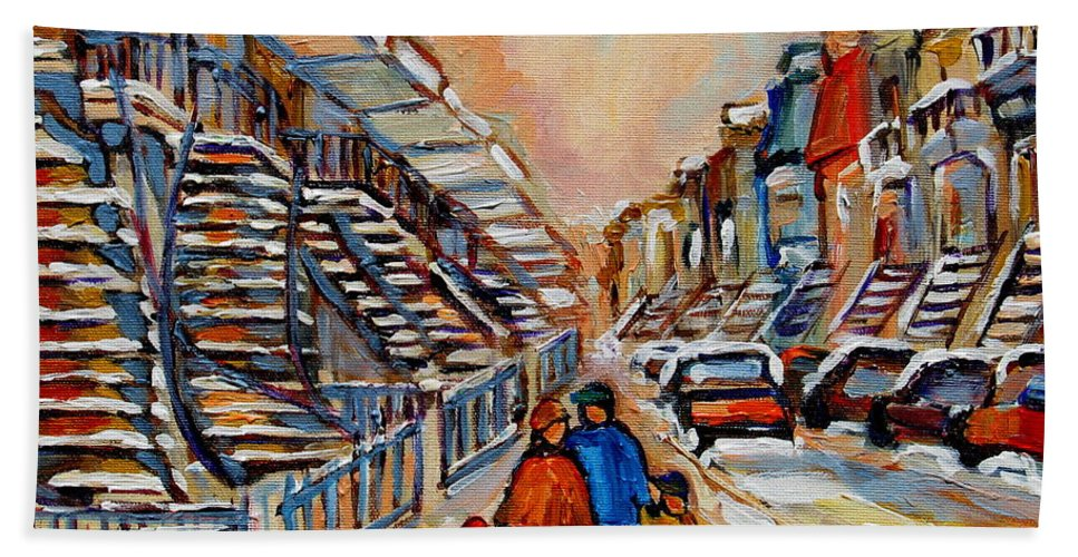 Montreal Beach Towel featuring the painting Winter Walk In Montreal by Carole Spandau