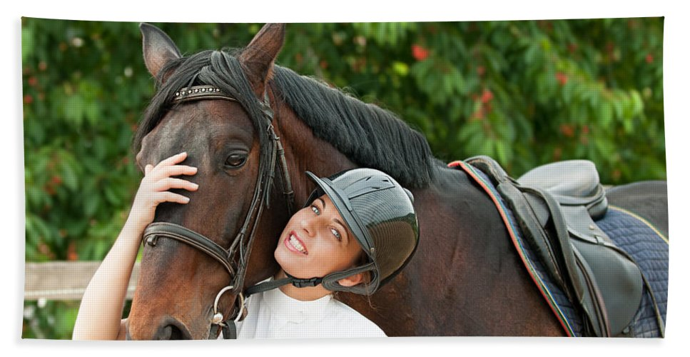 Jockey Beach Towel featuring the photograph Woman Rider And Horse by Boyan Dimitrov