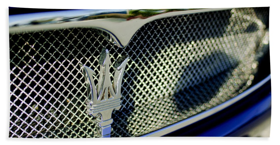 2002 Maserati Beach Towel featuring the photograph 2002 Maserati Hood Ornament by Jill Reger