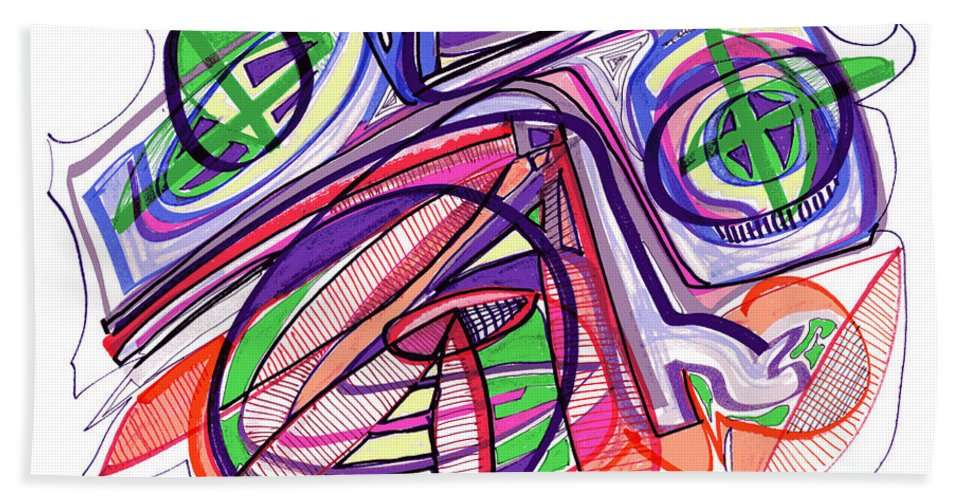 Abstract Art Beach Towel featuring the drawing 2010 Abstract Drawing Eleven by Lynne Taetzsch