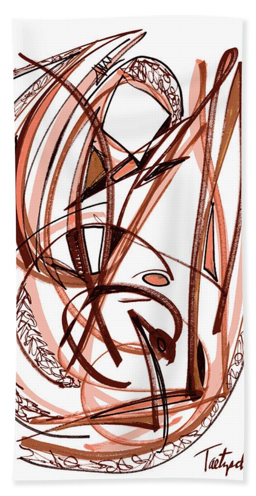 Abstract Art Beach Towel featuring the drawing 2010 Abstract Drawing Five by Lynne Taetzsch