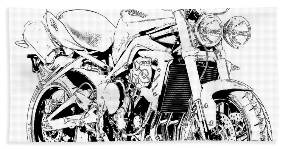 Moto Beach Towel featuring the drawing 2011 Triumph Street Triple, Black And White Motorcycle by Drawspots Illustrations