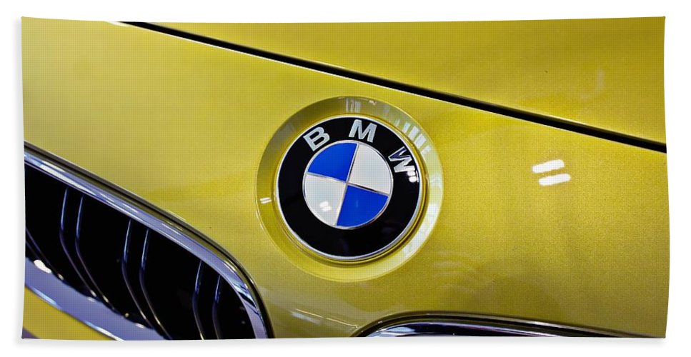 Bmw Beach Towel featuring the photograph 2015 Bmw M4 Hood by Aaron Berg