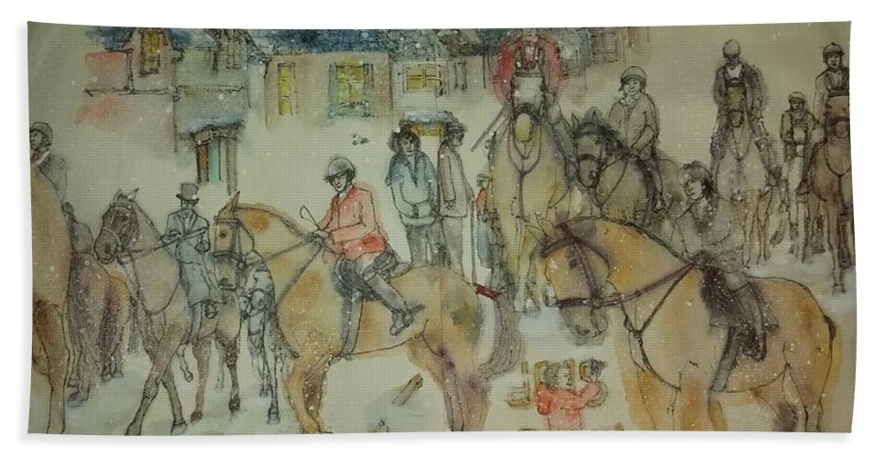 Foxhuntimg. Equine. Canine. Cityscape.hunters. Beach Towel featuring the painting Talley Ho Album by Debbi Saccomanno Chan