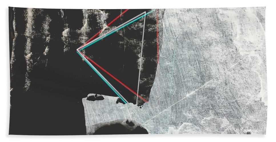 Abstract Beach Towel featuring the painting 22nd Century Humans by Dave Love