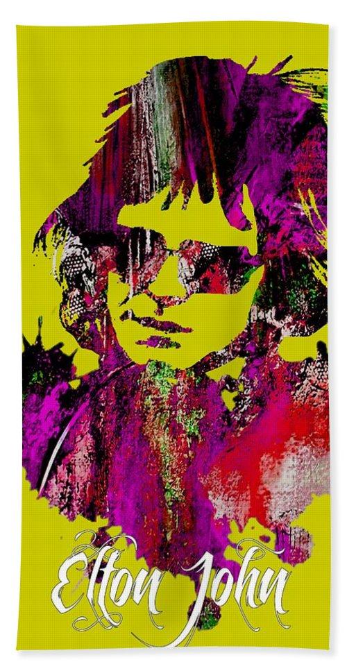 Elton John Beach Towel featuring the mixed media Elton John Collection by Marvin Blaine