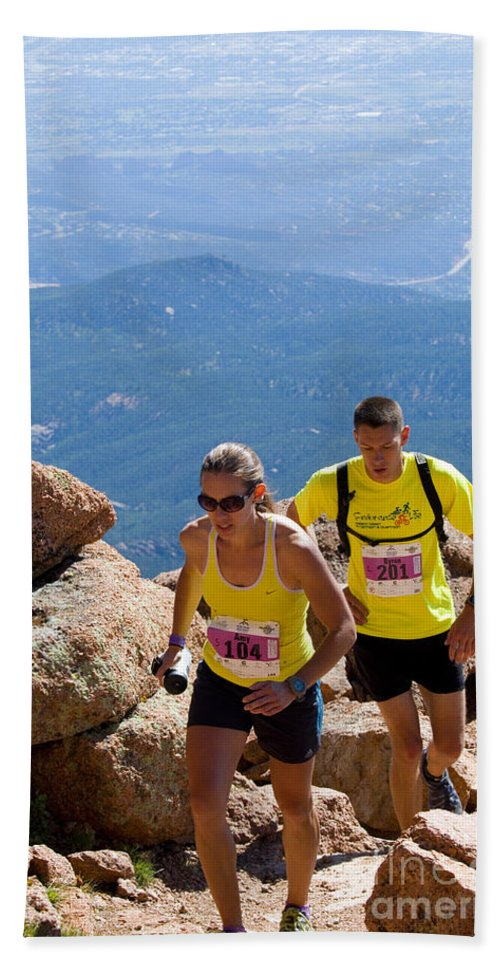 Athletes Beach Towel featuring the photograph Pikes Peak Marathon And Ascent by Steve Krull